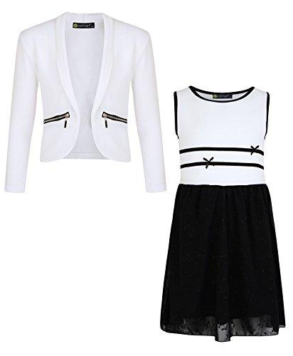 Girls Chiffon Skater Dress Bundle With Girls Zip Jacket in White Colour 5-6 Years