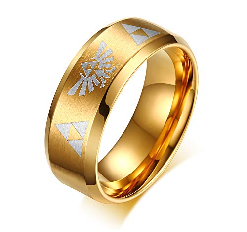 VNOX The Legend of Zelda Triforce 8MM Blue Gold Plated Finished Stainless Steel Ring for Men Women,Size 7