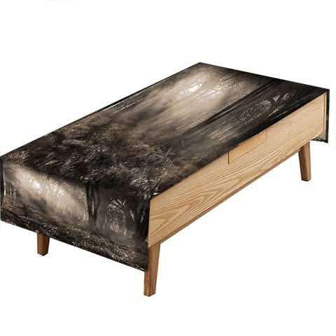 PINAFORE ポリエステル テーブルクロス ミスティバレーウッド 不気味な木 誕生日パーティー テーブルデコレーション 幅50×長さ80インチ W60