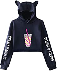 PANOZON Charli D'Amelio Crop Top Hoodie The Hype House Celebrity Lovely Cat Ear Sweatshirt for Women and G