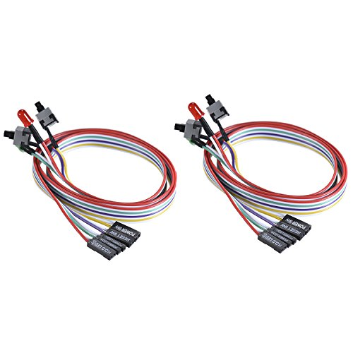 Warmstor 2-Pack Computer Case LED Light Red Green ATX Power Supply Reset HDD Switch Cable 27-inch Long ATX Case Front Bezel Wire Kit by Warmstor (Image #7)