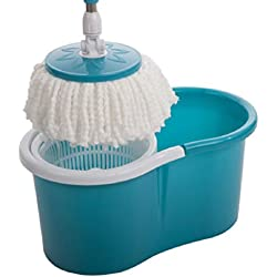 New Floor Mop 360° Bucket 2 Heads Microfiber Spin Rotating Head Easy Magic Cleaning