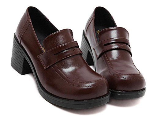COSKING Japanese School Uniform Shoes, Deluxe Women Cosplay Shoe JK Student Uniform Props (6.5, Deep Brown)
