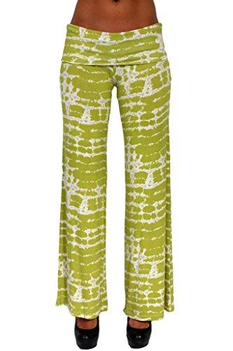 Gorgeous Women's Long Wide Leg Tie Dye Palazzo PANTS: GREEN.WHITE (SM)