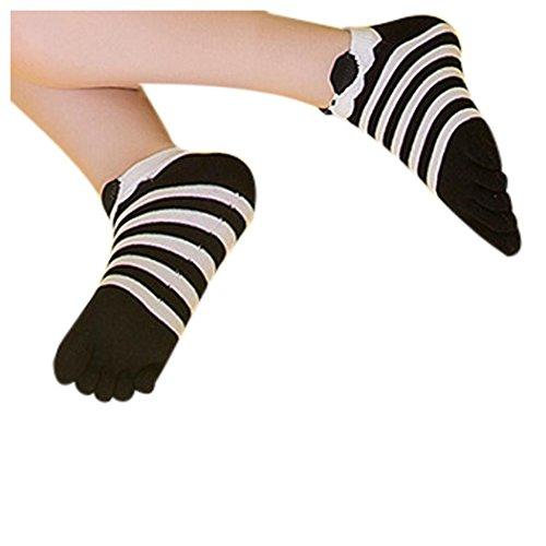 Women Toe Socks, Inkach Stylish Girls Cotton Five Finger Socks Breathable Running Socks Lightweight No Show Toes Socks A
