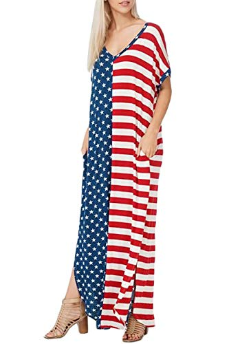 Spadehill July 4th Women's Flowy V Neck Summer Short Sleeve American Flag Beach Maxi Dress with Pockets M (Blue Stripe High Chairs)