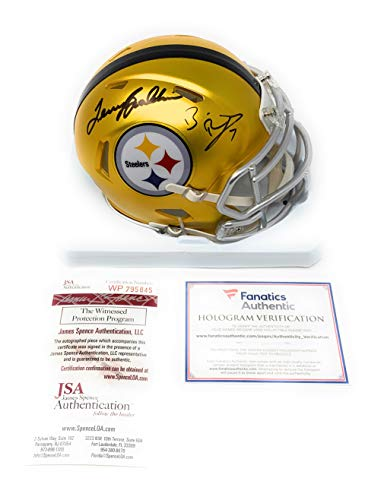 e4ed6567979 Ben Roethlisberger Terry Bradshaw Pittsburgh Steelers Dual Signed Autograph  Blaze Speed Mini Helmet Fanatics Authentic JSA Witnessed Certified