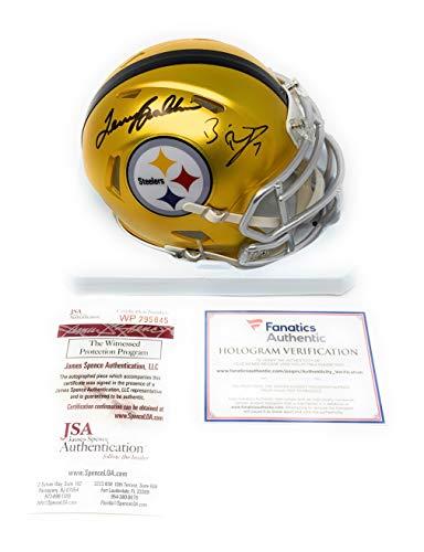 Ben Roethlisberger Terry Bradshaw Pittsburgh Steelers Dual Signed Autograph Blaze Speed Mini Helmet Fanatics Authentic JSA Witnessed Certified