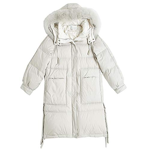White Duck Down Mid-length Over-the-knee Coat, Fashion Ladies Down Jackets Parka Overcoat