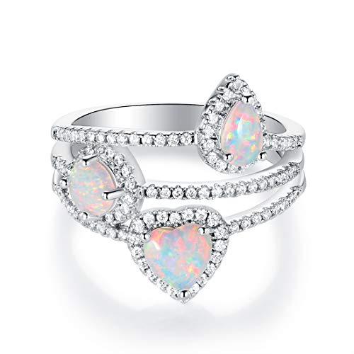 OPALBEST Heart Pear Round Opal Birthstone Cocktail Rings Halo CZ for Women Girls White Gold Plated (8)