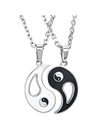 Konov Jewelry 2pcs Lovers Mens Womens Yin Yang Tai Chi Stainless Steel Pendant Love Friendship Necklace Set, Couples Valentines Gift for Him Her, Black White, with 18 22 inch Chain, with Gift Bag, C24520