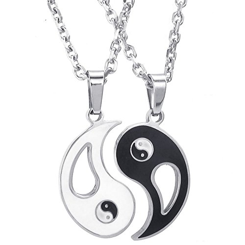 KONOV 2pcs Mens Womens Couples Stainless Steel Yin Yang Tai Chi Pendant Love Necklace, 18 & 22 inch Chain (Friendship Necklace Guy And Girl)