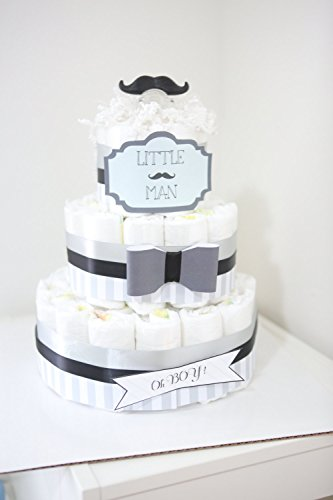 3Tier - Little Man Mustache Diaper Cake / Baby Shower Centerpiece / baby shower gift / bow black gray / Baby Room Decoration / (Little Man Baby Shower Centerpieces)
