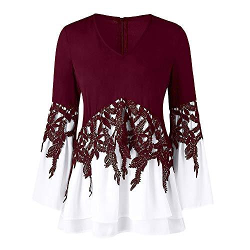 Clearance Sale! Wobuoke Fashion Womens Casual Applique Flowy Chiffon Lace V-Neck Long Sleeve Tunics Blouse Tops