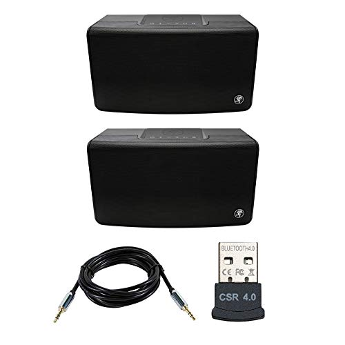 Mackie FreePlay Home Portable Bluetooth Speakers (Pair) Bundle with USB Bluetooth Adapter and Aux Cable