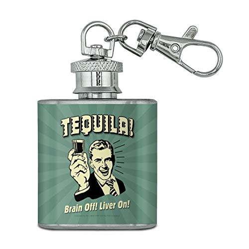 Snaps Mini Liver (Tequila Brain Off Liver On Funny Humor Retro Stainless Steel 1oz Mini Flask Key Chain)
