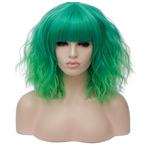 OneUstar Womens Green Wig with Bangs14 Inches Should Length Bob Wigs Synthetic Full Wig for Cosplay Party Fancy Dress -
