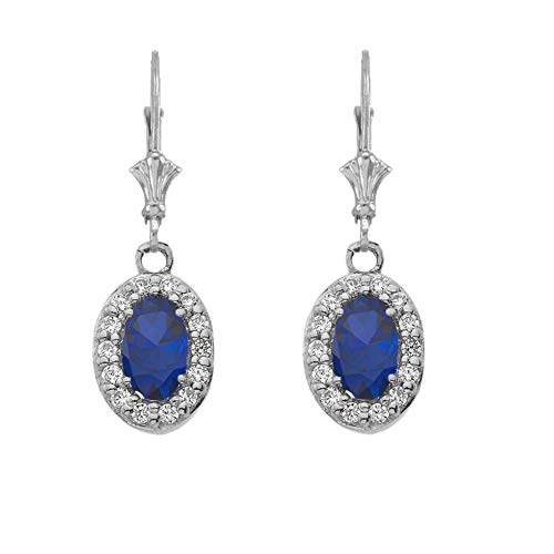 Dazzling 14k White Gold Diamond and Oval-Shaped Sapphire Leverback -