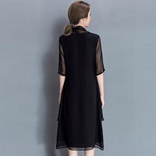 Femenino De Morera Largo RONG black Un De En Impresa XIU De Vestido Seda Seda SE8w6XSq