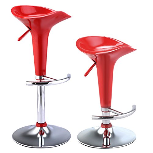 Giantex Set of 2 Modern Bombo Style Swivel Barstools Adjustable Counter Chair Bar Stools (Red)