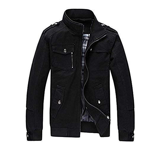 Coat Zipper Mens Cotton With Jacket Outerwear Giacche Schwarz Autunno Pure Clothes xCawIgIq