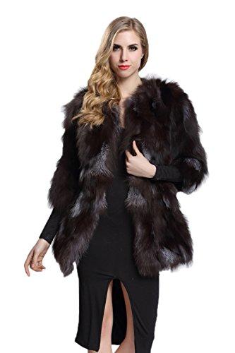 TOPFUR Silver Fox Fur Coat Women's Wedding Dresses Winter Outerwear(US 8) by TOPFUR