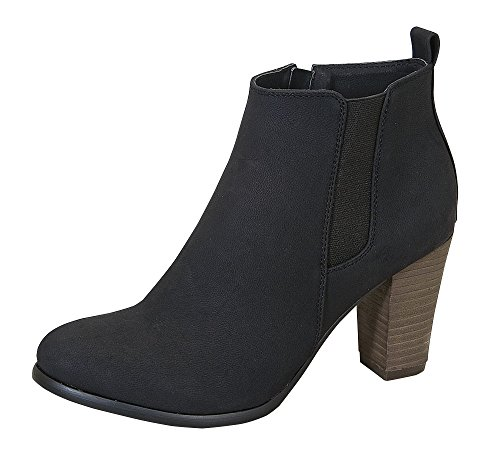 Malina-1 Women's Middle Heel Causal Chic Ankle Stretch Rider Bootie