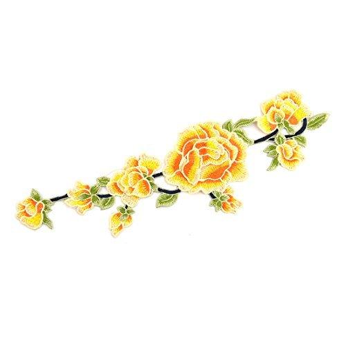 eDealMax Polyester Broderie de Fleurs de bricolage vtements Couture Dentelle Applique Patch Orange Jaune