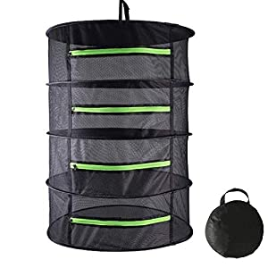 Goutime 4 Layer Mesh Drying Rack Hanging Herb Plant Rack with Green Zippers, for Hydroponics/Storage