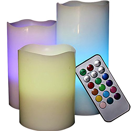 LED Lytes Flickering Flameless Candles - Battery Operated Candles Vanilla Scented Set of 3 Round Ivory Wax with Flickering Multi Colored Flame, auto-off Timer Remote Control For Weddings and Gifts
