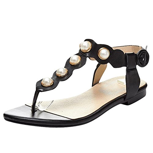 Charm Foot Womens Comfort Thong Faux Pearl Buckle Flat Sandals Black fI5K7J