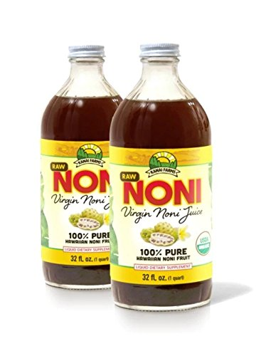 Virgin Noni Juice - RAW 100% Pure Organic Hawaiian Noni Juice - 2 Pack of 32oz Glass Bottles