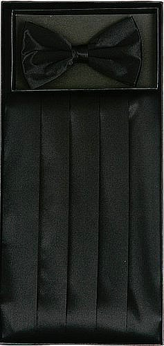 Classy+Black+Cummerbund+and+Bow+Tie+Set+with+Box
