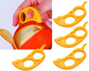4 pack Orange Citrus Peeler - EZpeel Brand 2 Hole Style Tool