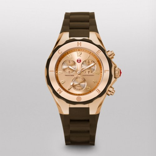 MICHELE Tahitian Jelly Bean Rose Gold Tone, Brown Dial - Michele Tahitian Jelly Bean