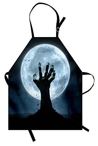 Ambesonne Halloween Apron, Realistic Zombie Earth Soil Full Moon Bat Horror Story October Twilight Themed, Unisex Kitchen Bib Apron with Adjustable Neck for Cooking Baking Gardening, Blue Black -