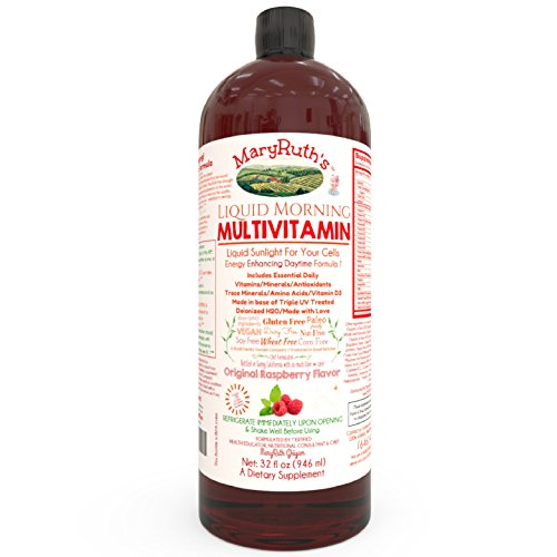 VEGAN LIQUID MORNING MULTIVITAMIN by MaryRuth (Raspberry) Highest Purity Ingredients, Vitamins A B C D3 E, Minerals & Amino Acids to Provide Energy All Day Non-GMO Gluten Free Paleo, 0 Sugar 0 Fat