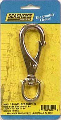 Brass Swivel Eye Snap - Seachoice 36901 Swivel Eye Snap - Cast Brass - Size #3 - 4-1/2 Inches Long - 3/4 Inch ID Eye