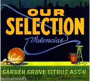 - MAGNET Garden Grove Our Selection Incense Orange Citrus Fruit Crate Magnet Art Print