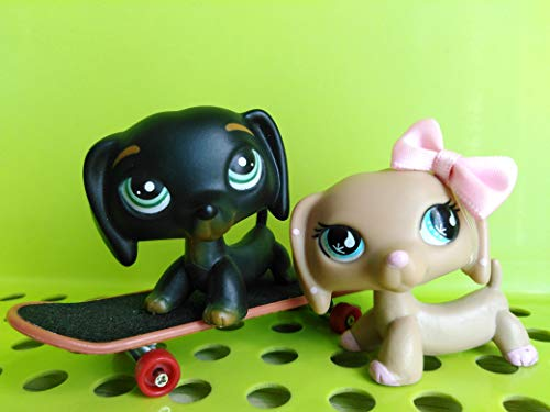 Love Pets lps Dachshund Black Green Eyes lps Tan and Pink Dachshnd with lps Accessories Skateboard Lot Kids' - Tan Eye Cats