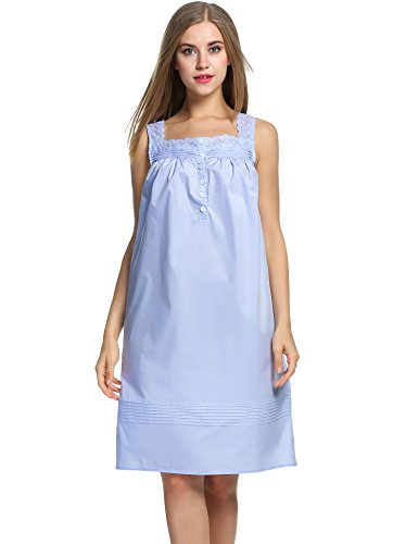HOTOUCH Women's Cotton Pure Color Knit Short Nightgown Light Blue (Pure Cotton Pastel)