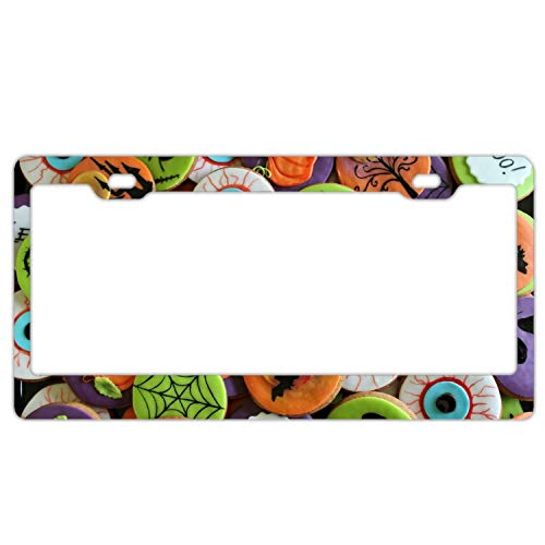 Ruolingw Holiday Halloween Food Cookie Biscuit Colorful License Plate Frames Fine Slim Frame Standard Size