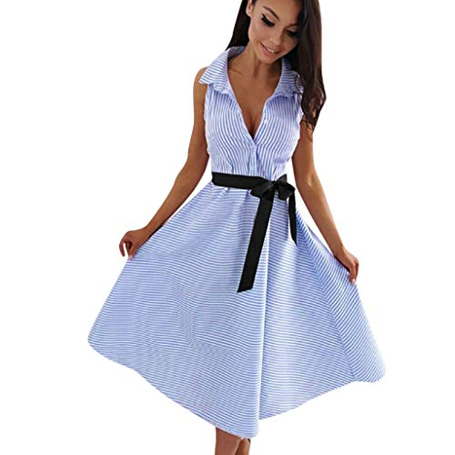 Women Stripe Sleeveless Casual Dress Women Round Neck Vestido Midi Party -