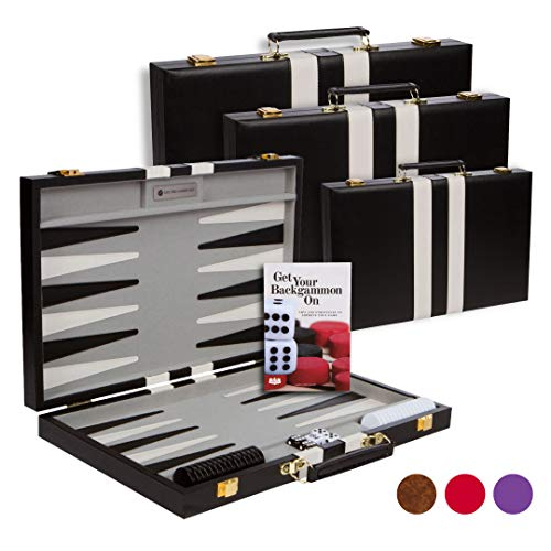 Get The Games Out Top Backgammon Set - Classic Board Game Case - Best Strategy & Tip Guide - Available in Small, Medium and Large Sizes (Black, Medium)