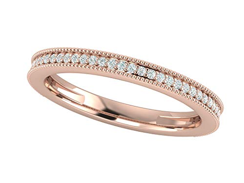 14K Rose Gold 1/6 Carat (H-I Color, SI2-I1 Clarity) Natural Diamond Wedding/Anniversary/Stackable Band for Women