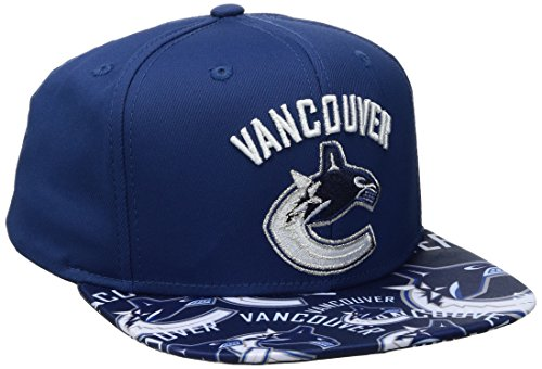 fan products of NHL Vancouver Canucks Men's SP17 All Over Print Flat Brim Snapback Hat, Blue, One Size