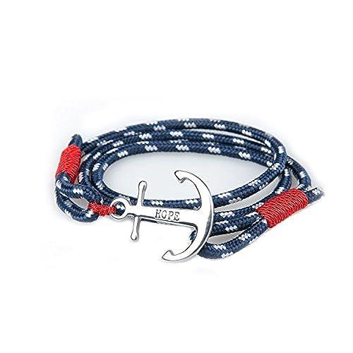 00fcd97ea783 Pulsera Ancla Mujer Hombre Acero Inoxidable Esperanza Amor Pulseras  Marinero Náutico Azul Cuerda Cable Brazalete de