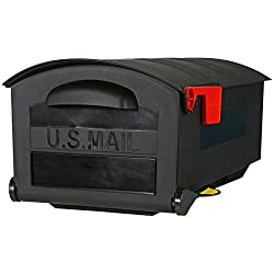"Stylish Highly Durable Contructed 21"" Black Polymer Post-Mount Mailbox With Mail Indicator Flag"