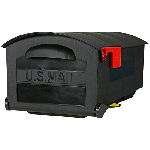 stylish-highly-durable-contructed-21-black-polymer-post-mount-mailbox-with-mail-indicator-flag