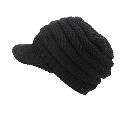 BeautyVan—Winter Womens hat Women Soft Knit Hats Fashion Hats Messy Hat Warm Crochet Wool Hats Ski Wide Brimmed hat (Black)